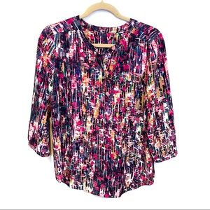 NYDJ Blouse 3/4 Sleeve Pleat Popover Abstract SP